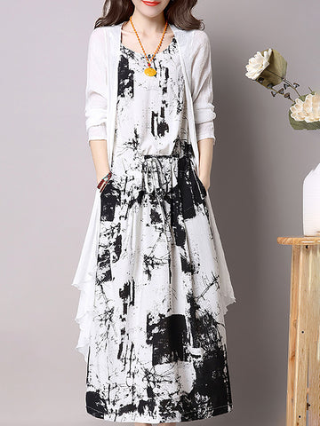 Two Piece Printed 3/4 Sleeve Plus Size Casual Dress
