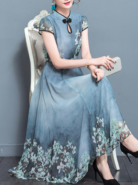 Swing Keyhole Chiffon Short Sleeve Midi Dress