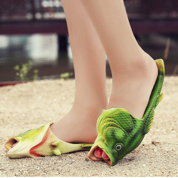 Green Seaside Artificial Suede Summer Flat Heel Slippers