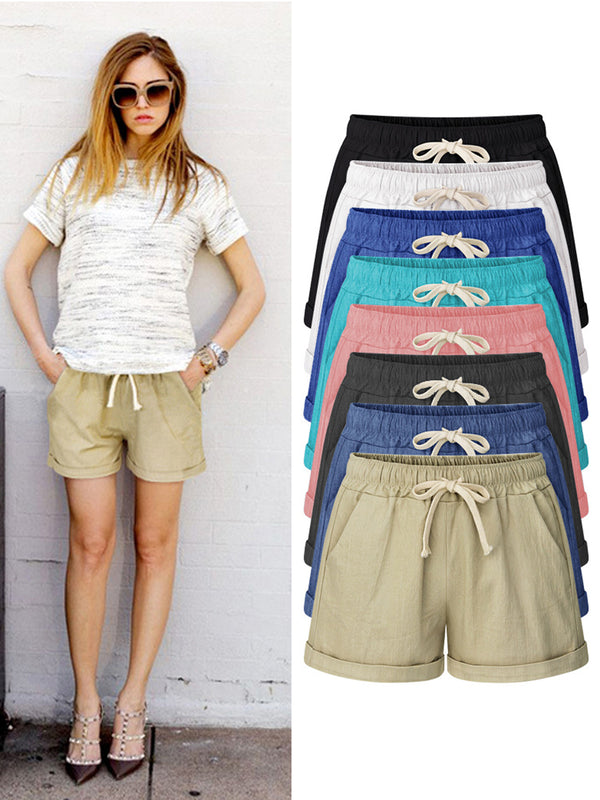 Summer Solid Gathered Casual Short Pant