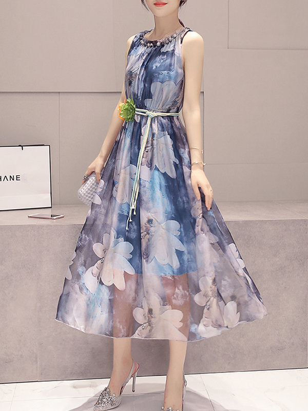 Elegant Chiffon Floral Printed Beaded Sleeveless Dress