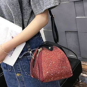 Womens Sequins Zipper Casual PU Crossbody Bags