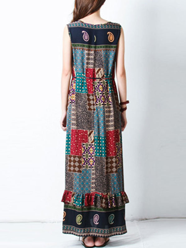 Plus Size Boho Patchwork Multicolor Dress