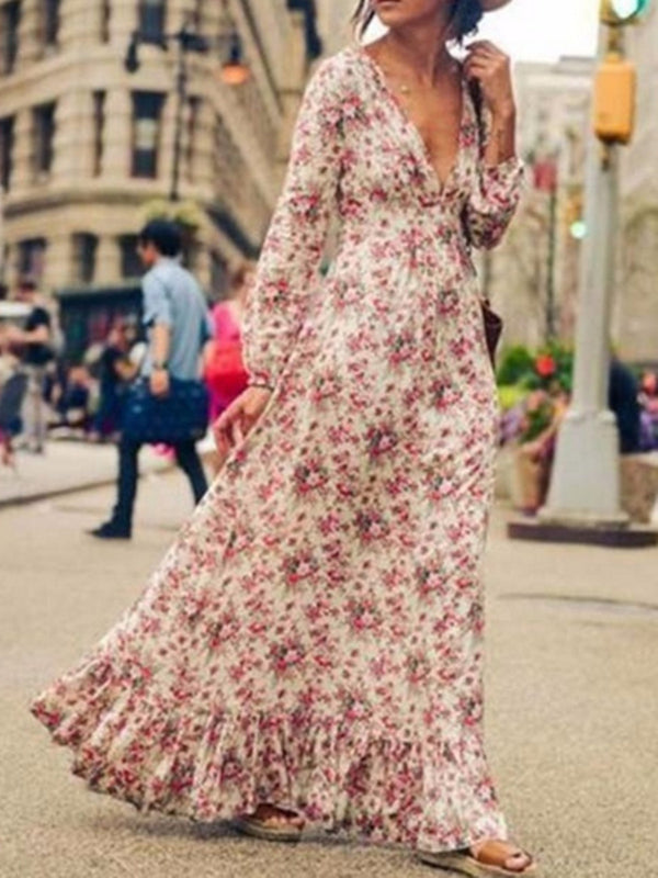 Floral Printed A-line Casual Plunging Neck Maxi Dress