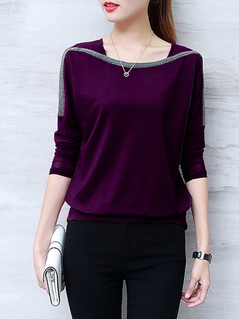 Long Sleeve Plain Embellished Plus Size T-Shirt