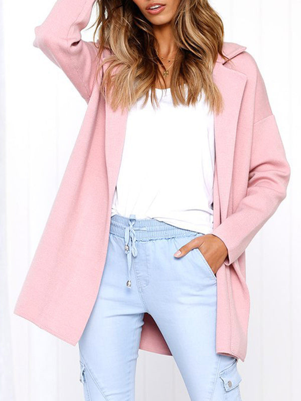 Long Sleeve Pockets Cotton Lapel Solid Color Coat