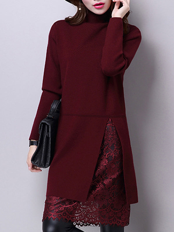 Turtleneck Lace Paneled Knitted Sweater Dress