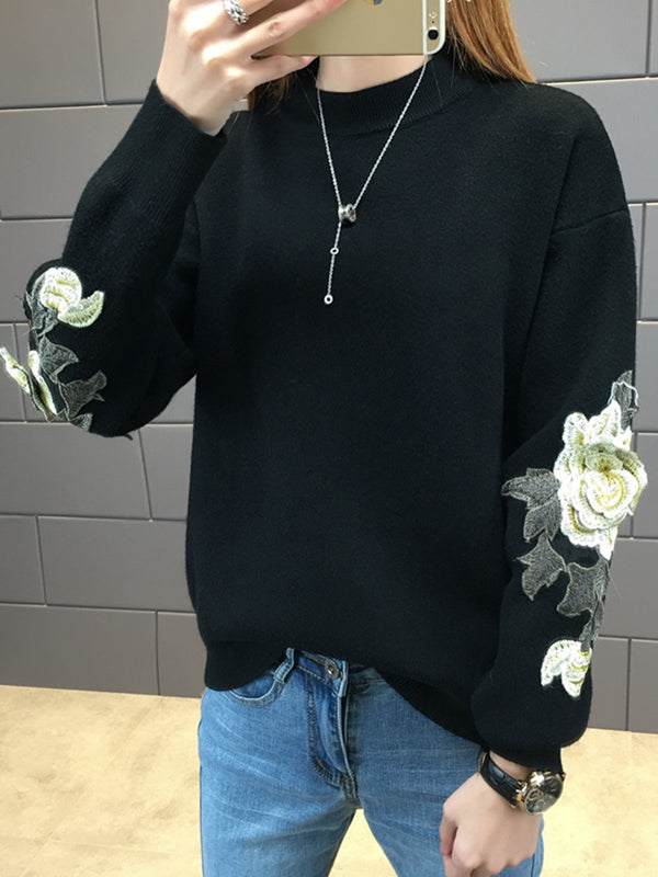 Casual Knitted Embroidered Sweater