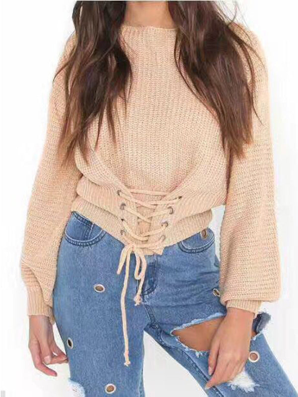 Long Sleeves Lace Up Sexy Solid Knitted Blouse