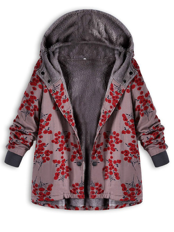 Floral Printing Cotton Fleece Hooded Autumn Winter Coat