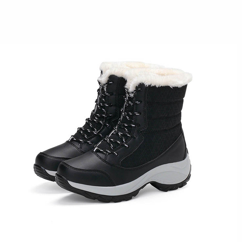 Waterproof Winter Snow Boots Platform Thick Fur Heels Boots