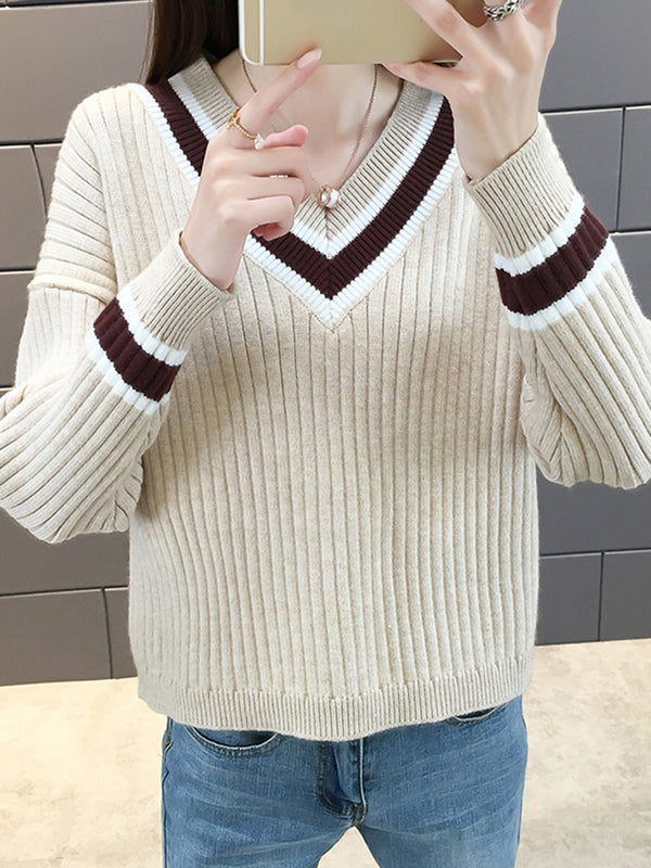 Striped Long Sleeve Casual Knitted Sweater
