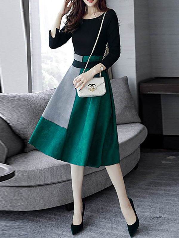 Color-block Long Sleeve Elegant Crew Neck Dress