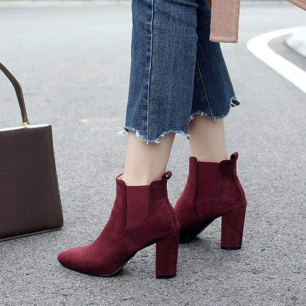 Daily Suede Chunky Heel Pointed Toe Slip-On Boots