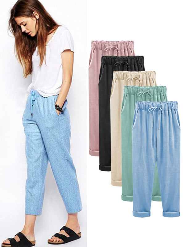 Cotton Linen Casual Solid Gathered Pants