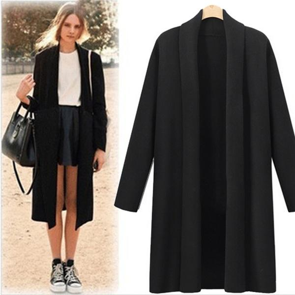 Women's Open Front Trench Coat Casual Long Cloak Cardigan