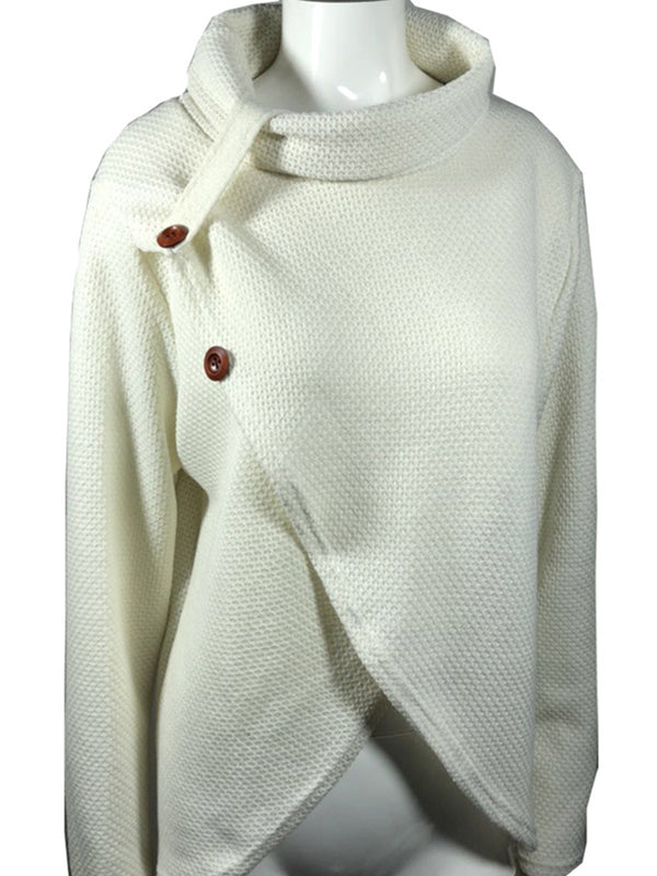 Buttoned Cowl Neck Knitted Sweater