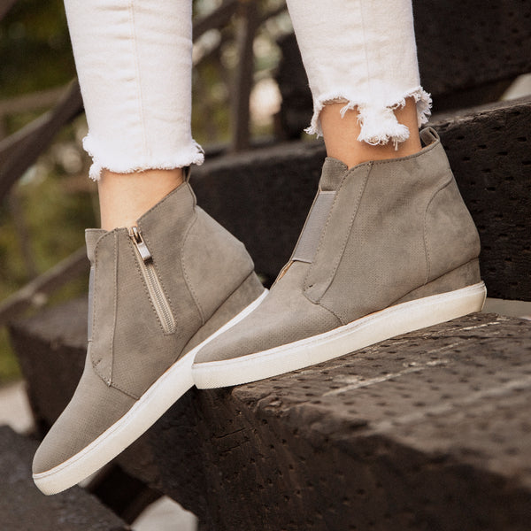Comfort Zipper Plus Size Wedges Sneakers with Side Zipper