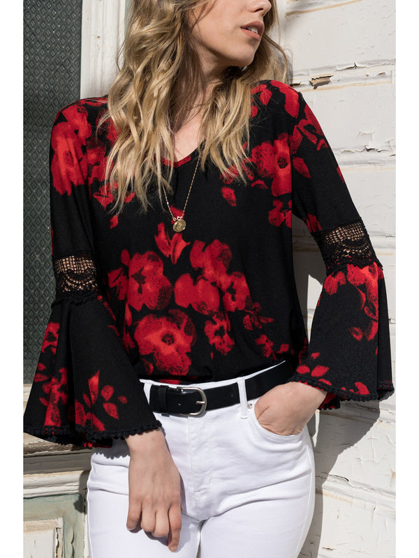 V-neck Lace Print Shirt