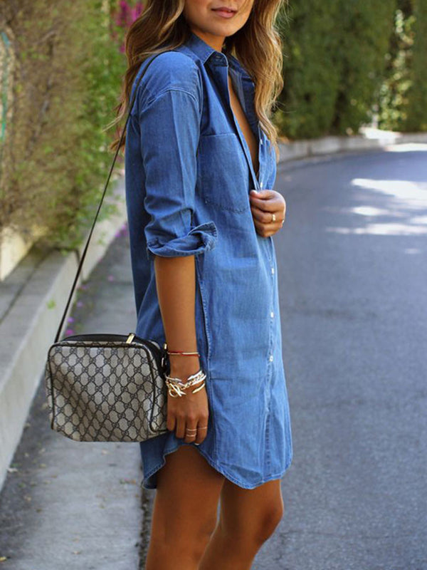 Blue A-line Casual Pockets Shirt Collar Fake Demin Dress