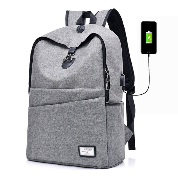Women's Casual Canvas USB Interface Charging Zipper Backpack