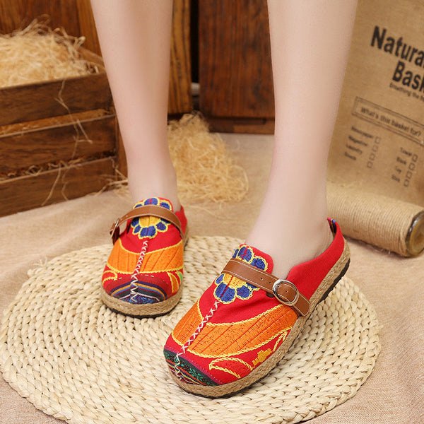Vintage Style Embroidered Slip-On Women's Cotton Flat Loafers
