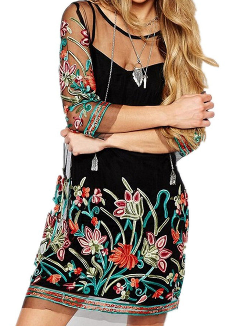 Sheath 3/4 Sleeve Floral Sexy Mesh Plus Size Dress