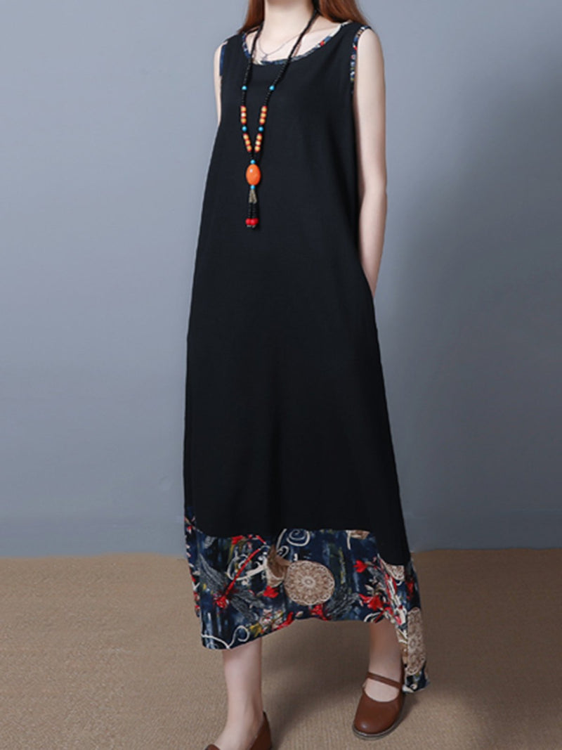Tribal Sleeveless Casual Crew Neck Midi Dress