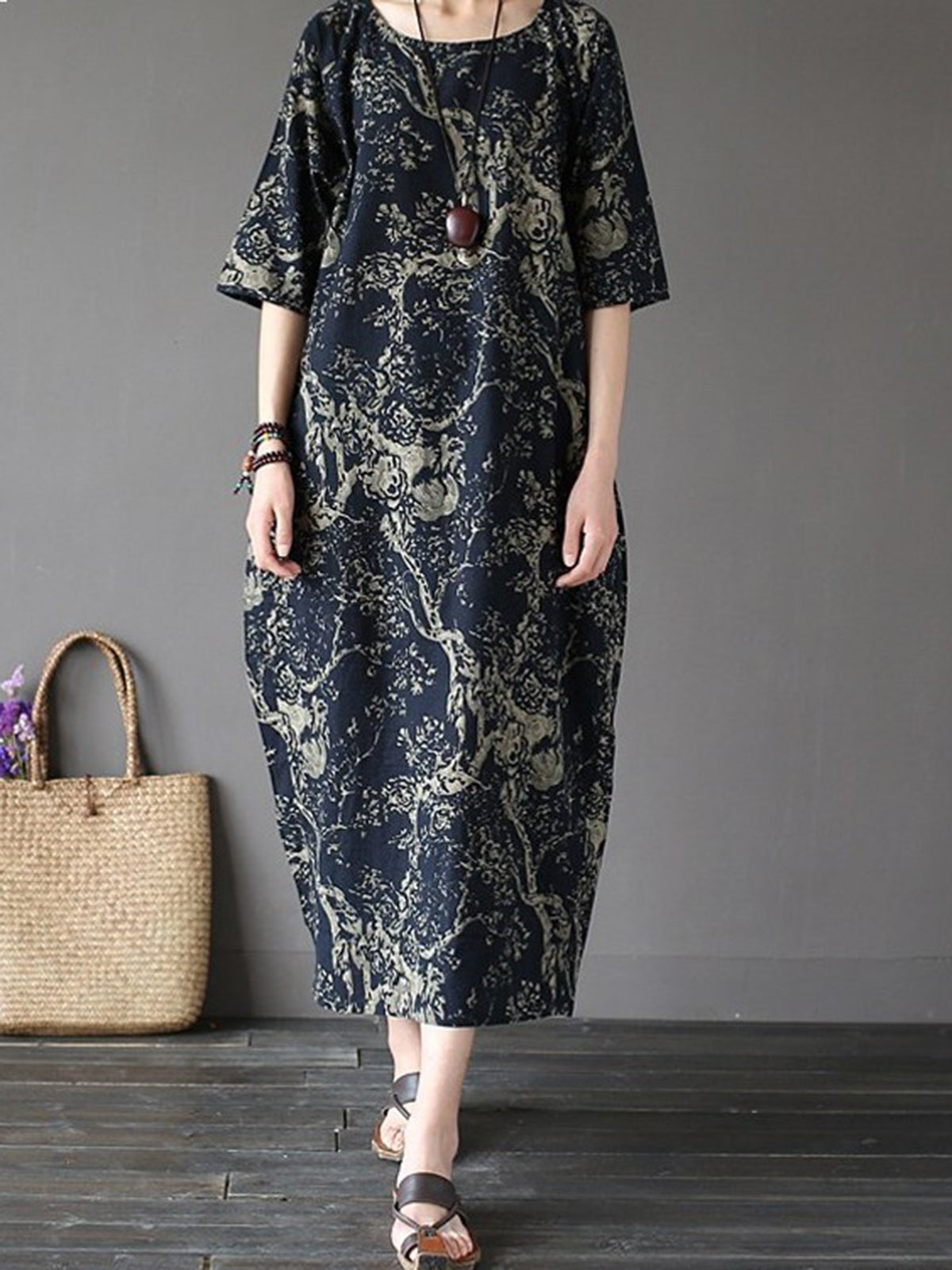 Half Sleeve Vintage Printed Cocoon Plus Size Dress