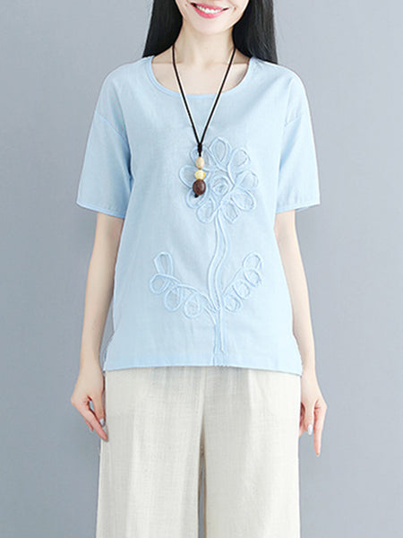 Appliqued Casual Solid Short Sleeve Crew Neck Top
