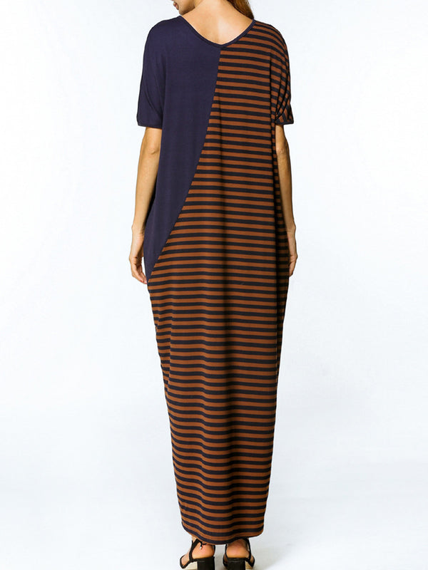 Coffee Striped Casual Half Sleeve V-Neck Maxi Dress