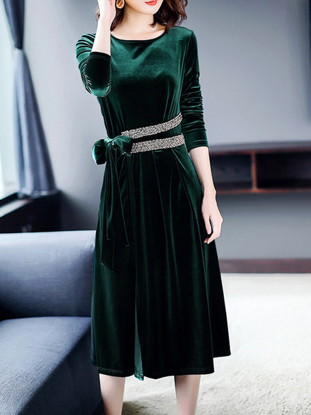 Beaded Side Slit Velvet Elegant Solid Dress
