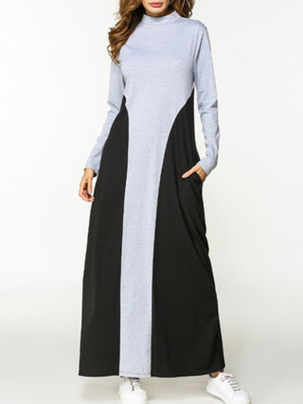 Black-Grey Casual Paneled Stand Collar Maxi Dress