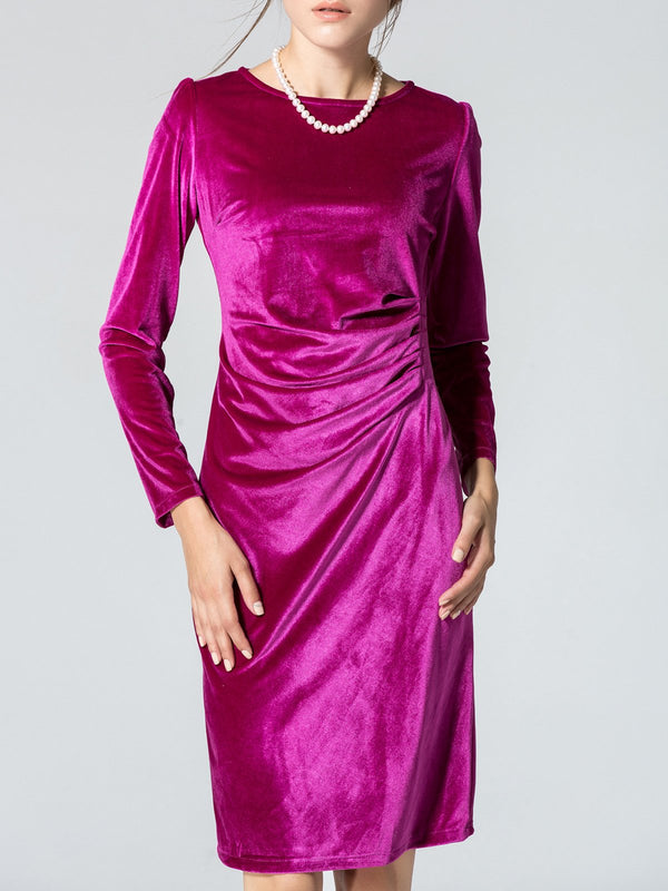 Date Cocktail Velvet Sheath Paneled Midi Dress