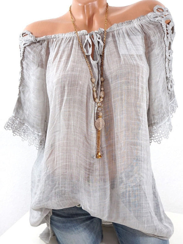 Short Sleeve Casual Off Shoulder Lace Paneled Plus Size Linen T-Shirt