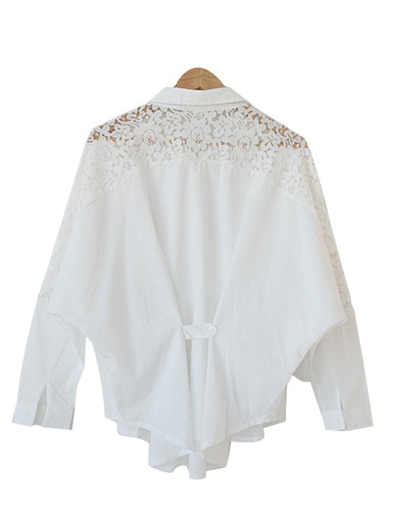 Buttoned Long Sleeve Lace Solid Casual Blouse