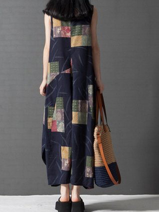 Casual Cotton Geometric Sleeveless Linen Dress