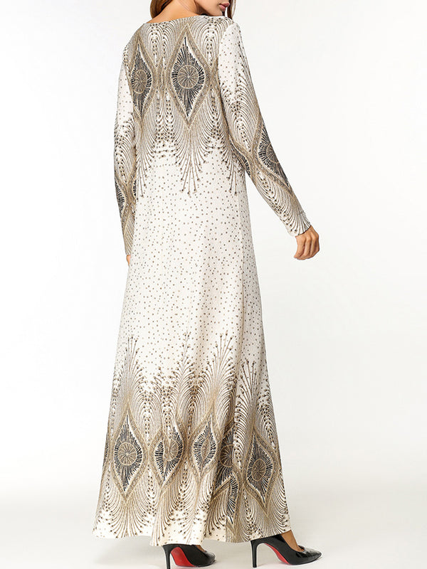 White Tribal Printed Casual Long Sleeve Maxi Dress