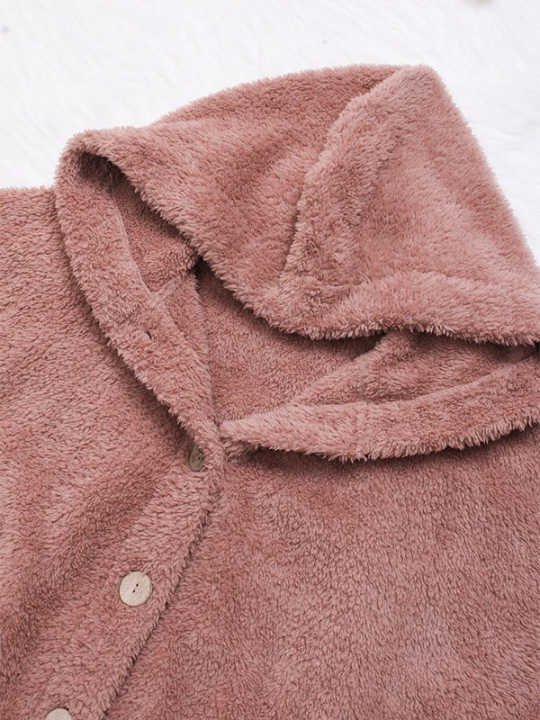 Cozy Long Sleeve Fleece Hooded Fuzzy Asymmetrical Hem Button Teddy Bear Coat