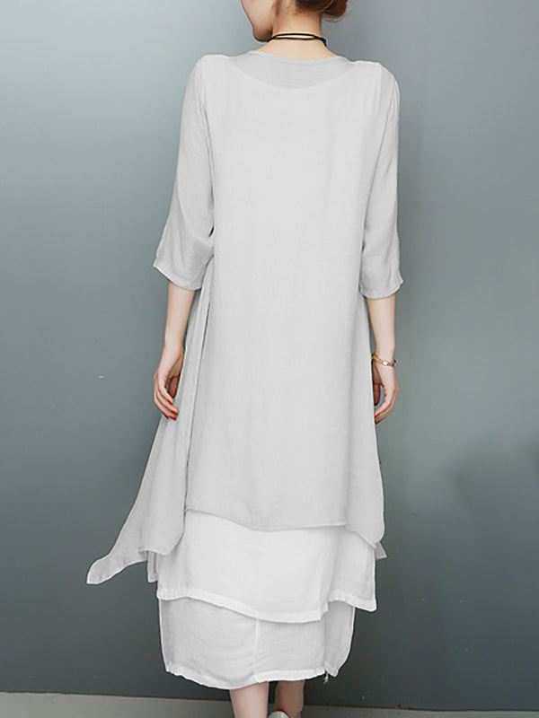 3/4 Sleeve Shift Casual Cotton Crew Neck Linen Dress