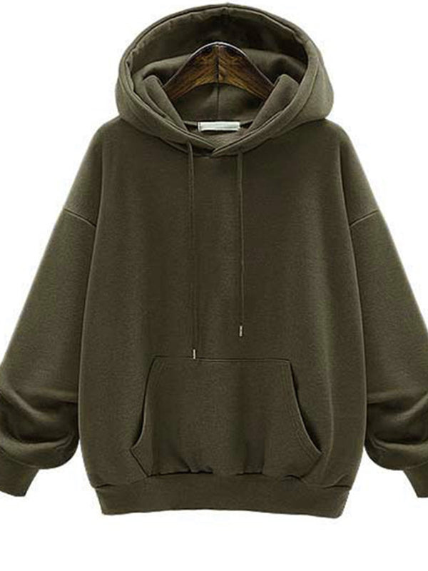 Solid Color Pocket Thicken Hoodie