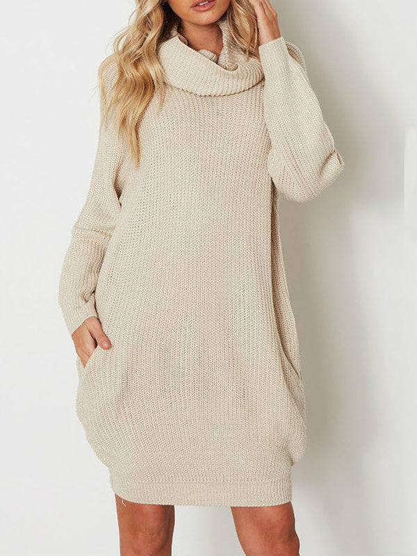 Beige Solid Casual Pockets Fall Dress