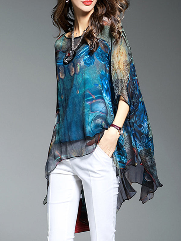 Blue Crew Neck Chiffon Blouse