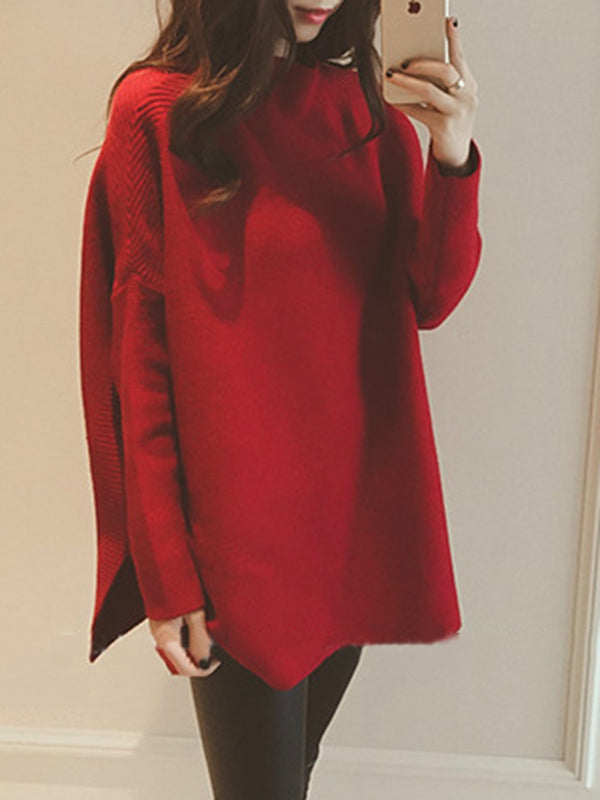 Knitted Elegant Solid Slit Sweater