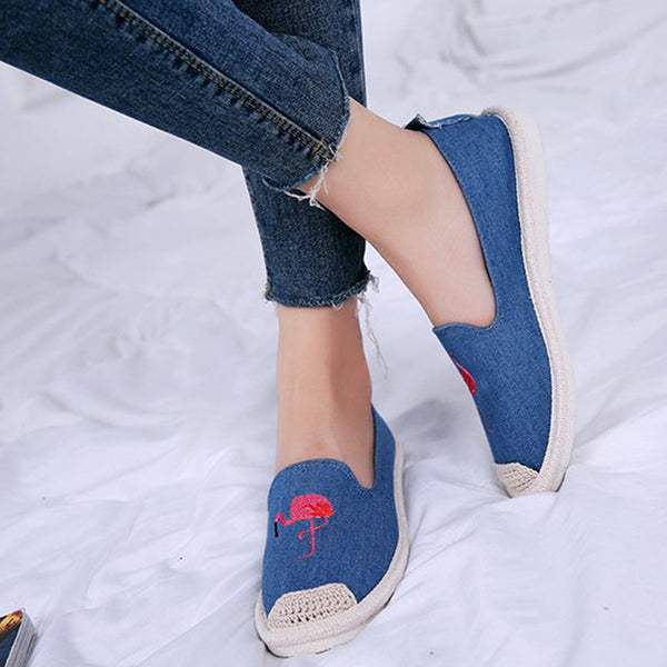 Women Canvas Casual Flamingo Embroidery Espadrille  Flat Loafers