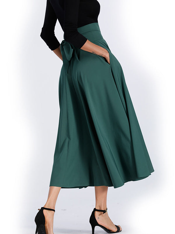Cotton-blend Slit Casual Plus Size Midi Skirts
