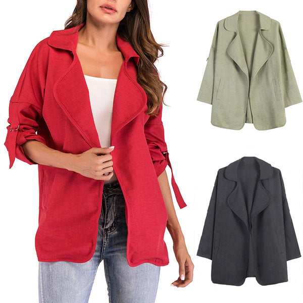Casual Turn-down Collar Pockets Windbreaker Coat