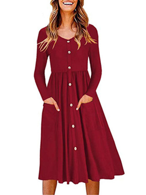 Buttoned  Gathered Casual Solid Dress