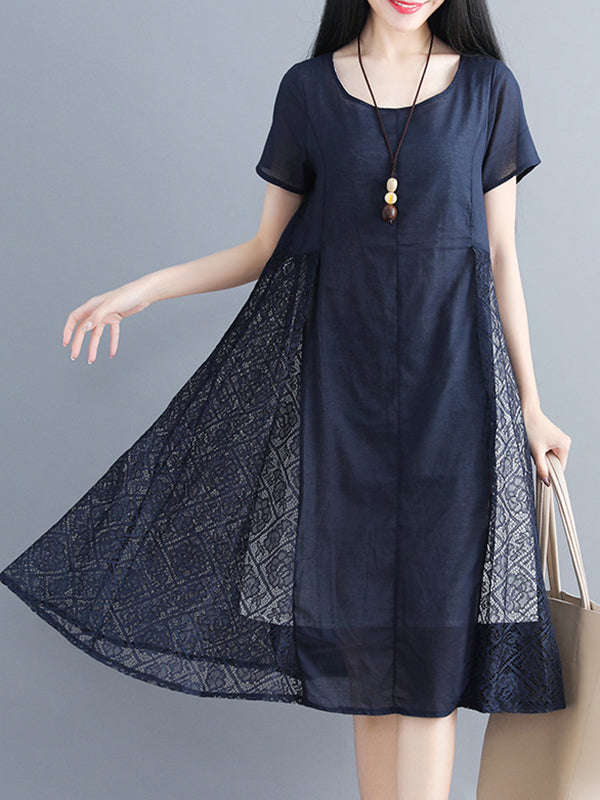 A-line Daily Lace Paneled Linen Dress