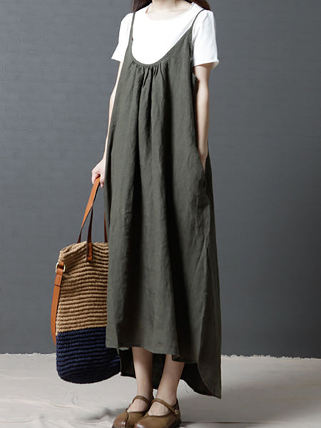 Black Casual Plunging Neck Linen Gathered Linen Dress